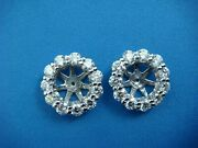 2.40ct T.w. Natural Diamond Jackets For 2-2.5 Ct Each Stud Earring 4.3 Grams.