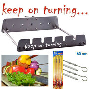 5 Skewer Rotisserie Rack Grill Automatic Rotating Motor Operated Bbq Set
