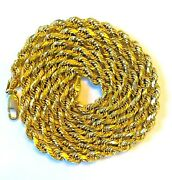 14k Solid Yellow Gold Rope Chain 31.6 Grams 24 Inches 4mm New Lobster Lock