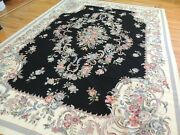 9x12 French Aubusson Needlepoint Oriental Area Rug Ivory Black Blue/gray Floral