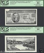 Luxembourg 100 Francs Nd Ca 1956-66 Photographic Proof Face And Back