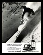 1962 Walkers Deluxe Whiskey Vintage Print Ad Woman Lone Skiing Mountain Snow 60s