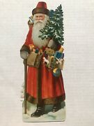 Large 1920's Die Cut Santa Claus With Toys And Christmas Tree