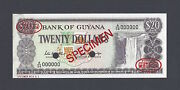 Guyana 20 Dollar Nd1966-1989 P24as Specimen Tdlr N1 About Uncirculated