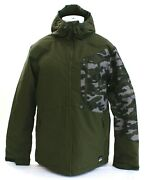 Oand039neill Cue Green Camouflage Insulated Zip Front Hooded Snow Jacket Menand039s Nwt
