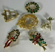 Brooch Christmas Wreath Bell Deer Vintage Costume Jewelry Lot Of 6 Brooches