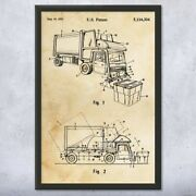 Framed Garbage Truck Wall Art Print Waste Management Contractor Gifts