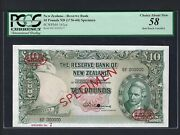 New Zealand 10 Pounds Nd1955-60 P161cs Specimen Tdlr N7 About Uncirculated