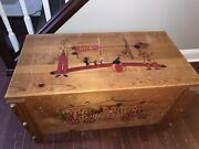 Vintage 1950's Antique Wooden Toy Chest Circus Clowns Collectibles