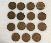 Canada Penny One Cent 15 Coin Lot 1940-1974 7 From Wwii