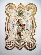 Lovely Victorian Die Cut Scraps Valentine W/ Horn Of Flowers And Adorable Cupid