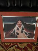 Vintage 1988 Indian Portrait Distant Mountains By Frank Howell Hand Signed