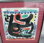 Mid Century Joan Miro Titled New York Abstract Stone Signed Lithograph