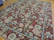 9x12 8x12 French Aubusson Needlepoint Area Rug Floral Burgundy Red Pink Blue