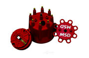 Msd 84335 Cap And Rotor Red Male/hei Brass Terminals Clamp Down Pro Billet V8