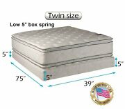 Dream Solutions Brand Medium Soft Twin Mattress And Low 5 Box Set W/ Bed Frame
