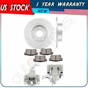 Rear Brake Rotors Calipers With Ceramic Pads For 2004 2005 2006-2008 Acura Tsx