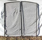 Large Pair Of Wrought Iron Diamond Panel Wire Mesh Arch Top Garden Gates