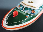 Vintage German Tippco Tippandco Tin Toy Police Boat Battery Operated Germany