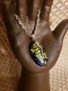 Vintage Sterling Silver Woven Necklace Blue And Yellow Art Glass Pendant 925