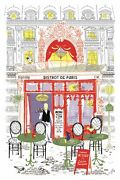French Dishtowel Bistro/ Cafe In Paris Street 100 Cotton Made In France