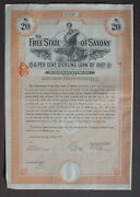Germany 6 Free State Of Saxony Loan Of 20 Andpound To Bearer 1927 Uncanc. + Coupons