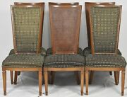 Baker Furniture Cain Back Dining Chairs Set Of 6 With Tufted Fabric