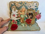 Vintage 1920's Valentine's Day Card Pop Out W/ Angel And Gold Paper Lace