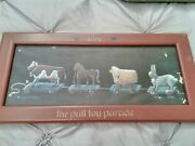Pre-owned Mary Hughes Rustic Pull Toys Lithograph Print Wood Frame Farmhouse