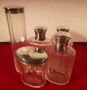 Top Quality Art Deco Styled French 5-piece Dressing Table Set With Silver Tops