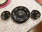 Set Of 3-decorative French Handpainted Plate10and Two 5 Bowls Peint Main Blue