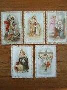 Lot Of 5 Antique Holy Lace Cards – St. George, L'ange Gardien, ... B22-26
