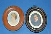Pair19th Century Framed Miniature Watercolours,full History/dates On Rear,c 1890