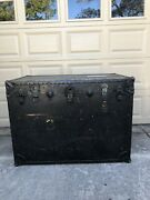 Antique Storage Trunk Vintage Coffee Table Wood And Metal Treasure Chest Prop🔥