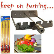4 Rotating Skewer Bbq Grill Attachment Motor Operated W/usb Port Stainless Steel