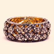 Vintage Style 2.24ct Real Old Mine Rose Cut Diamond Silver Eternity Ring Jewelry