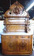 Antique French Court Hunt Cupboard. Beveled Marble Top. High Relief Carving.1875