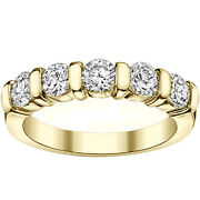 1.00 Ct Channel Bars 5-stone Diamond Wedding Ring In 18k Yellow Gold New