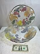 Lot Of 2 - Mikasa Glass Embossed Colored Fruit And Leaves Centerpiece Bowl And Plate