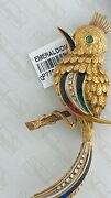 Bird Brooch / Pin With Emerald And Diamonds 18kt Yellow Gold Estate Piec