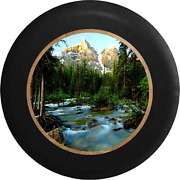 Spare Tire Cover Pine Forest Mountain Backdrop Flowing Stream Jk Accessories