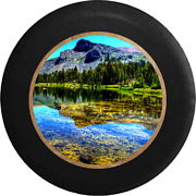 Spare Tire Cover Lake Water Pine Forest Mountain Backdrop Jk Accessories