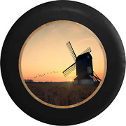 Spare Tire Cover Windmill On The Farm As The Morning Sun Rises Jk Accessories