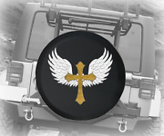Spare Tire Cover Gold Cross With Wings Angel Jk Accessories