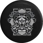 Spare Tire Cover Gothic Medieval Stone Look Lion Family Crest Jk Accessories
