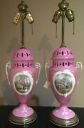 Beautiful Pair Pink Old Paris Antique 19th C Porcelain Urns Converted To Lamps
