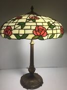 Antique American Mosaic Leaded Stained Glass Lamp W/ Pink Flowers