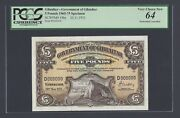 Gibraltar 5 Pounds 20-11-1971 P19bs Specimen Perforated Uncirculated