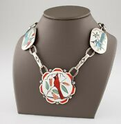 Vintage Harlan And Monica Coonsis Zuni Turquoise And Coral Bird Sterling Necklace
