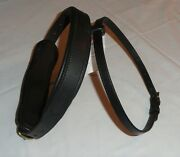 Nos Ideal Equestrian Leather Carriage Driving Full Size Padded Noseband W/ Flash